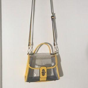 Handbags - Clear yellow boarded purse!